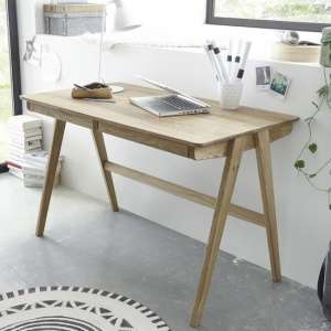 Heligan Wooden Computer Desk In Knotty Oak With 2 Drawers