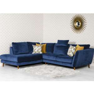 Helsonk Velvet Upholstered Left Handed Corner Sofa In Blue