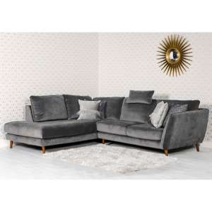 Helsonk Velvet Upholstered Left Handed Corner Sofa In Grey