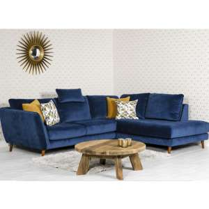 Helsonk Velvet Upholstered Right Handed Corner Sofa In Blue