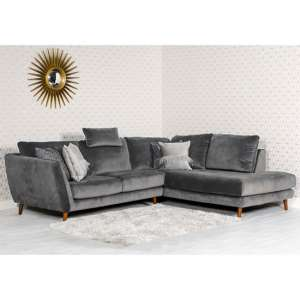 Helsonk Velvet Upholstered Right Handed Corner Sofa In Grey