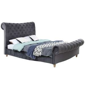 Heming Velvet Bed In Grey With Deep Buttoned Detailing