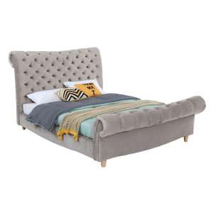 Heming Velvet Bed In Mink With Deep Buttoned Detailing