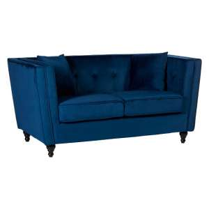 Hannah 2 Seater Sofa In Blue Velvet With Wooden Legs