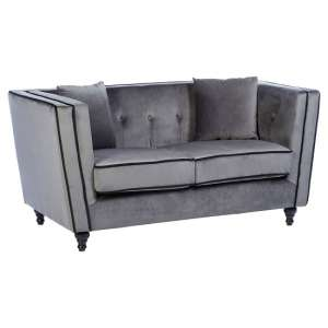 Hannah 2 Seater Sofa In Grey Velvet With Wooden Legs