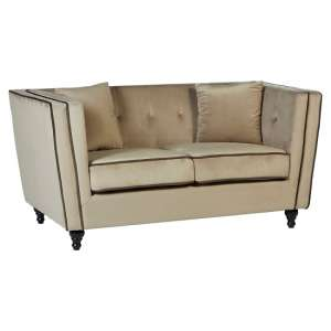 Hannah 2 Seater Sofa In Mink Velvet With Wooden Legs