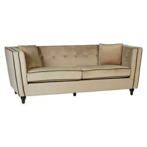 Hannah 3 Seater Sofa In Mink Velvet With Wooden Legs