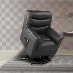 Henrick Modern Rise And Recliner Chair In Black Faux Leather