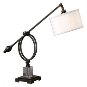 Henzler Table Lamp In White Linen With Dark Bronze Metal Base