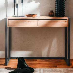 Hercules Wooden Console Table In Artisan Oak And Anthracite
