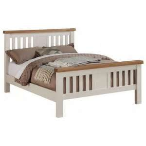 Heritage Wooden Double Bed In Stone Painted