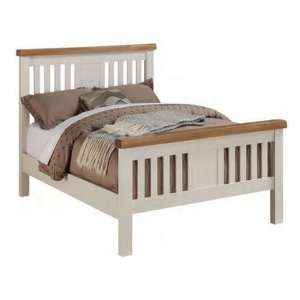 Heritage Wooden Single Bed In Stone Painted