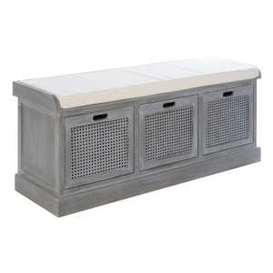 Heritox Wooden 3 Drawers Hallway Storage Bench In Slate Grey