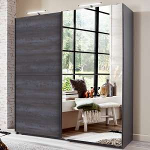 Herne Sliding Door Mirrored Wardrobe In Graphite