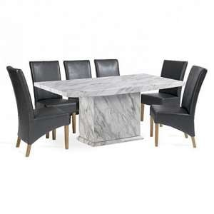 Hessler Marble Effect Dining Table With Six Choe Dining Chairs