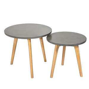 Hex Set Of 2 Nesting Tables In Concrete Effect