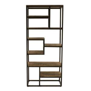 Hexham Tall Sim Wooden Bookcase With Black Metal Frame