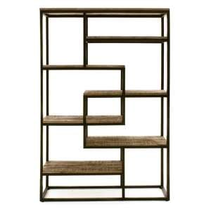 Hexham Tall Wide Wooden Bookcase With Black Metal Frame