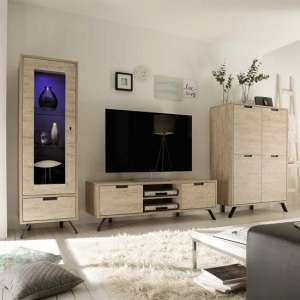 Heyford Living Room Furniture Set In Sherwood Oak With LED
