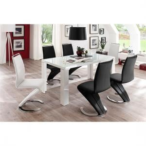 Tizio Glass Top Dining Table In White Gloss And 6 Chairs