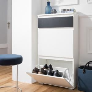 Hilary Shoe Cabinet In White And Anthracite With 2 Flap Doors