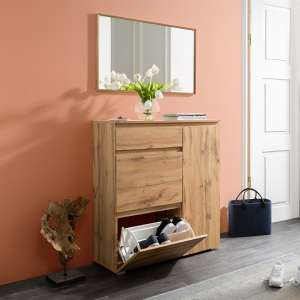 Hilary Wooden Shoe Storage Cabinet In Golden Oak