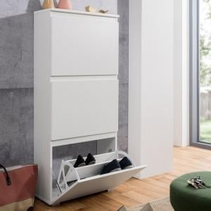 Hilary Shoe Storage Cabinet In White With 3 Flap Doors