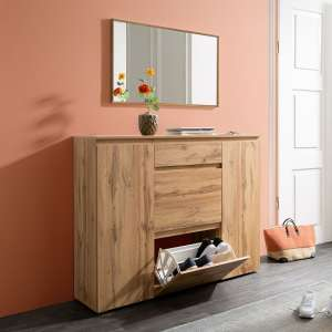 Hilary Wooden Shoe Storage Cupboard In Golden Oak