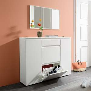 Hilary Wooden Shoe Storage Cupboard In White