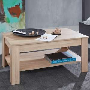 Hilburn Wooden Coffee Table Rectangular In Light Oak