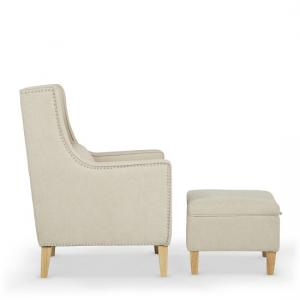 Hilton Fabric Lounge Chair With Foot Stool In Cream