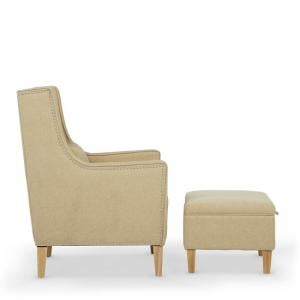 Hilton Fabric Lounge Chair With Foot Stool In Oatmeal