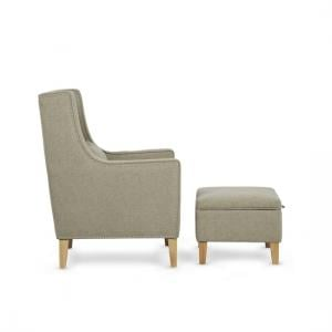 Hilton Fabric Lounge Chair With Foot Stool In Sage