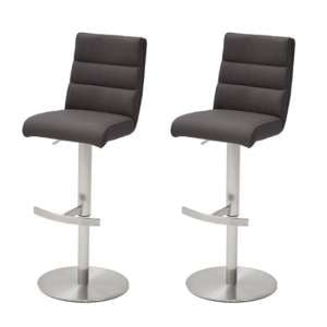 Hiulia Anthracite Leather Bar Stool In Pair With Steel Base