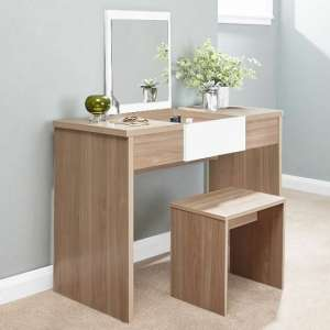 Frenzi Wooden Dressing Table Set In Oak And White