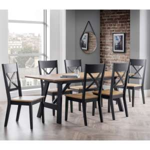 Hockley Dining Set In Oak And Black With 6 Chairs