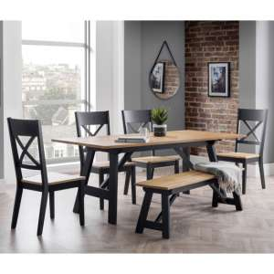 Hockley Dining Set In Oak And Black With Bench And 4 Chairs