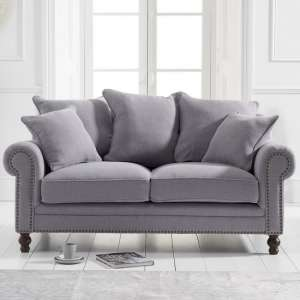 Hoffman Modern 2 Seater Sofa In Grey Linen Fabric