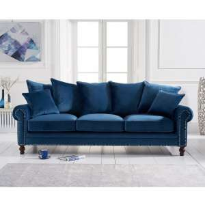 Hoffman Modern 3 Seater Sofa In Blue Plush Fabric