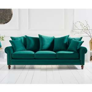 Hoffman Modern 3 Seater Sofa In Green Plush Fabric