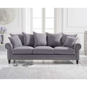 Hoffman Modern 3 Seater Sofa In Grey Linen Fabric