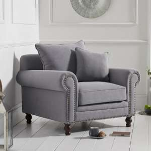 Hoffman Modern Sofa Chair In Grey Linen Fabric With Wooden Legs