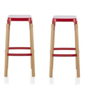 Hoker 66cm Bar Stools In Glossy Red In A Pair
