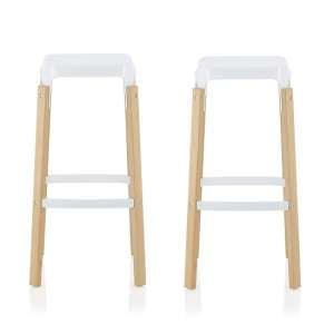 Hoker 66cm Bar Stools In Glossy White In A Pair
