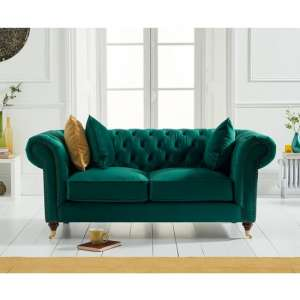 Holbrook Chesterfield 2 Seater Sofa In Green Velvet