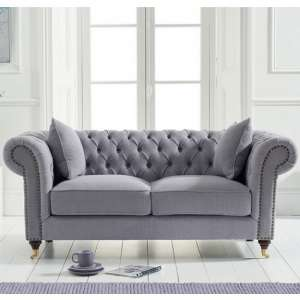 Holbrook Chesterfield 2 Seater Sofa In Grey Linen