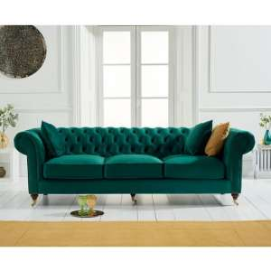 Holbrook Chesterfield 3 Seater Sofa In Green Velvet