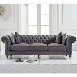 Holbrook Chesterfield 3 Seater Sofa In Grey Velvet