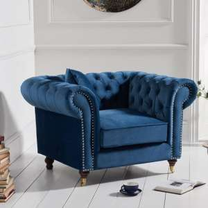 Holbrook Chesterfield Sofa Chair In Blue Velvet