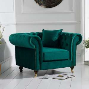 Holbrook Chesterfield Sofa Chair In Green Velvet